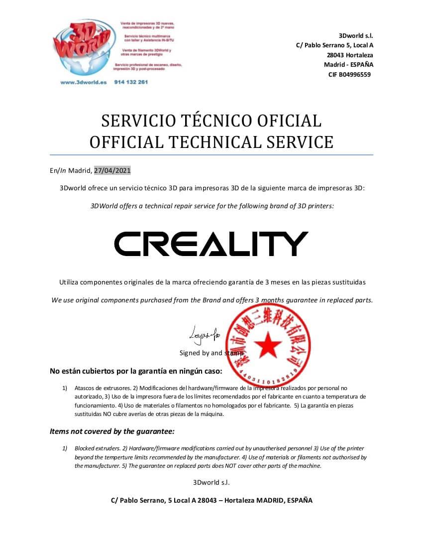 3DWorld, nuevo Servicio Tecnico Oficial de 3D CREALITY en España